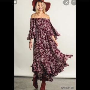 Umgee Maroon and floral off shoulder maxi …